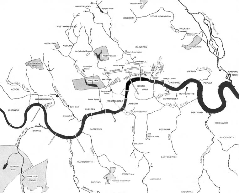 Map of London's lost rivers